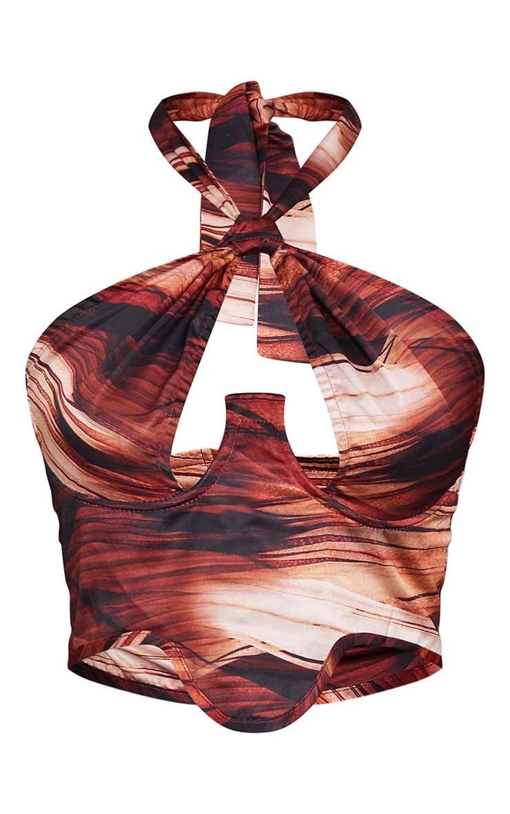 Corset dos nu satiné imprimé abstrait superposé marron à ourlet tombant 5