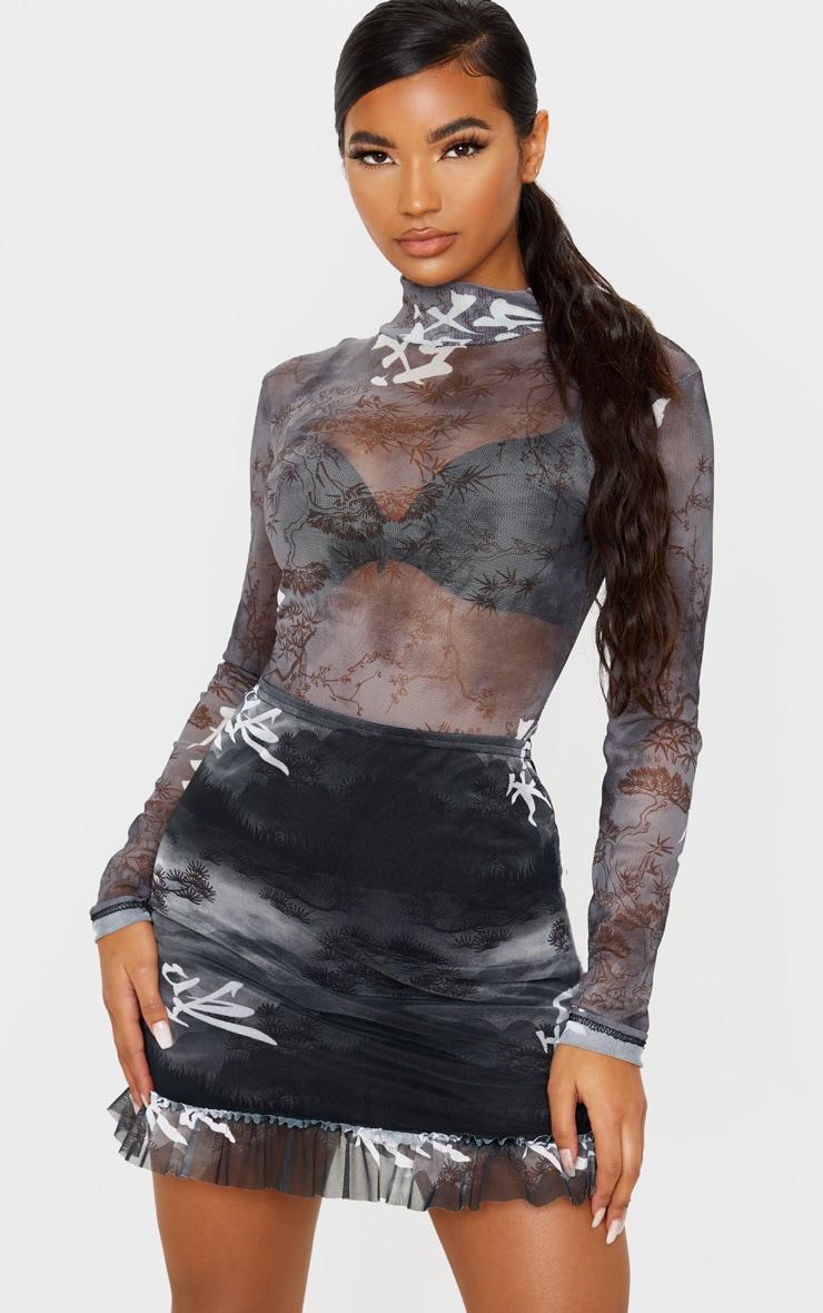 Grey Oriental Print Frill Hem Mini Skirt 1