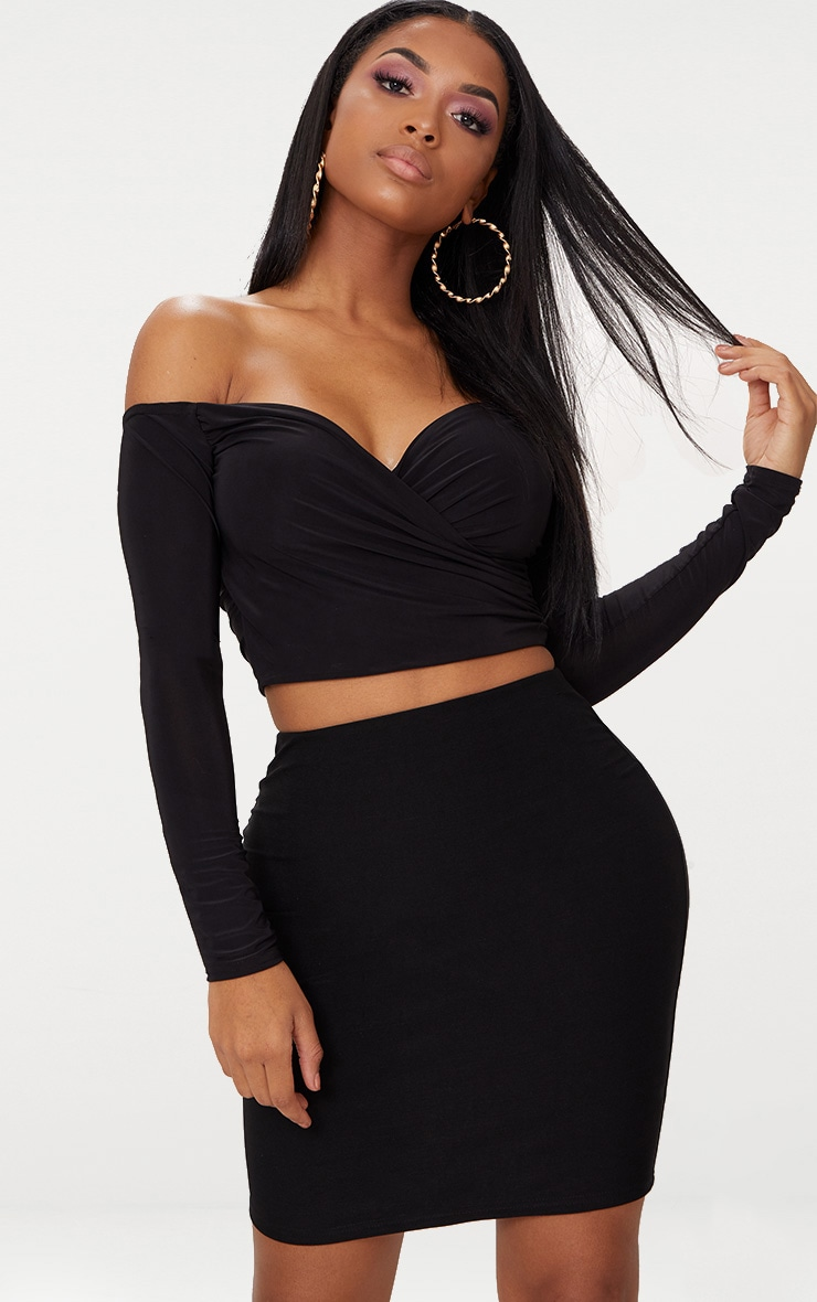 Shape Black Slinky Bardot Crop Top 1