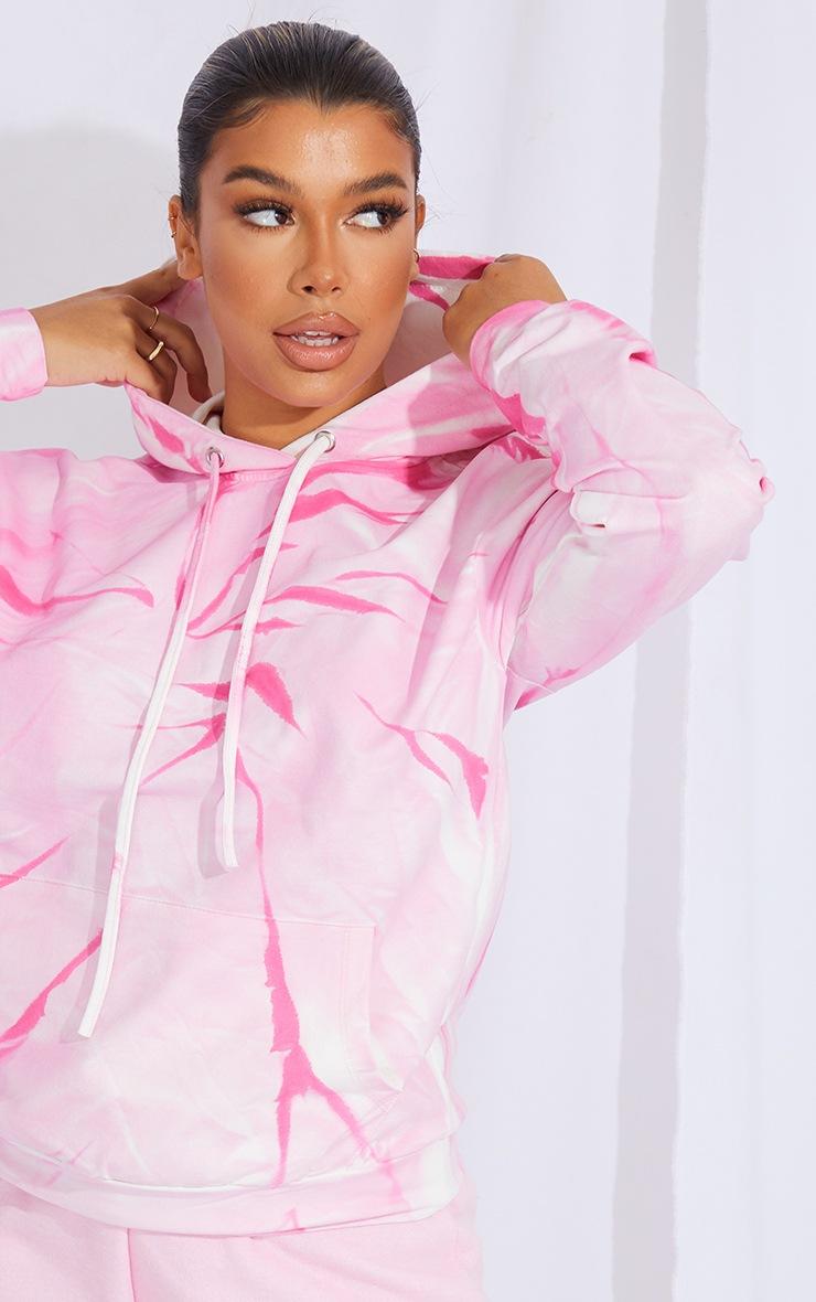Hot Pink Tie Dye Oversized Hoodie 4