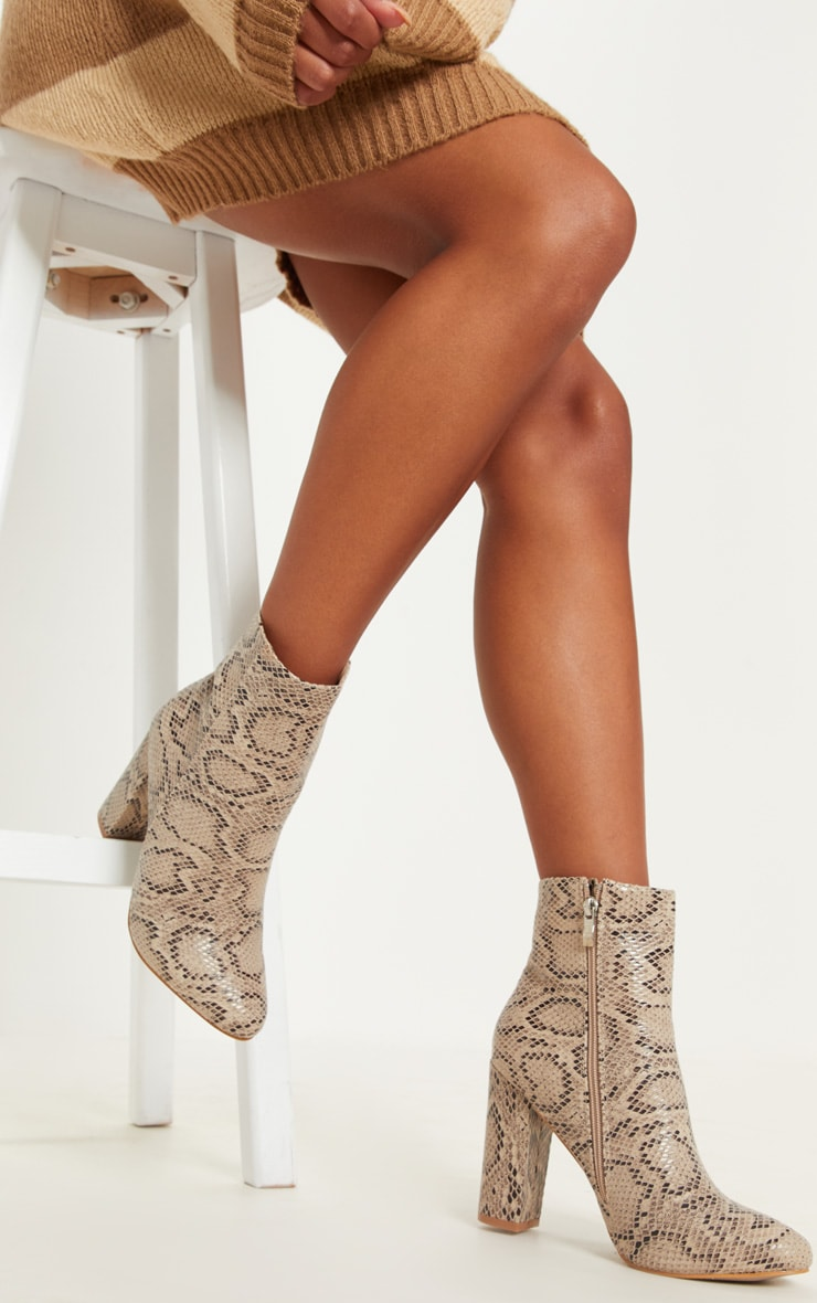 Snake Faux Leather Ankle Boot