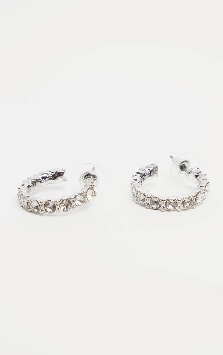 Silver Diamante Mini Hoop Earrings 2