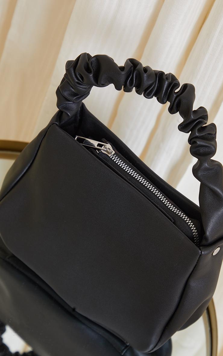 Black PU Ruched Handle Shoulder Bag 3