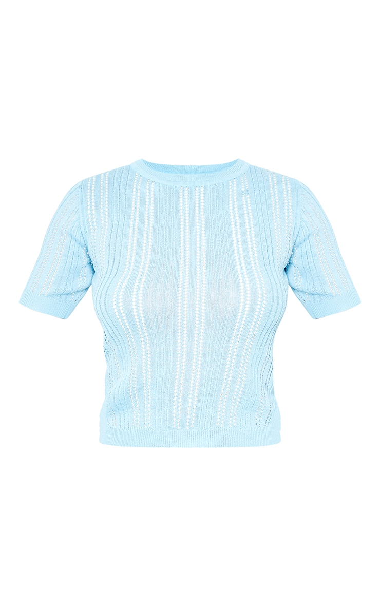Baby Blue Pointelle Short Sleeve Knitted Top 5