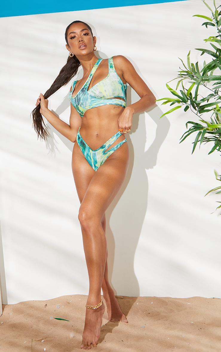 Green Contrast Strappy Bikini Top 3