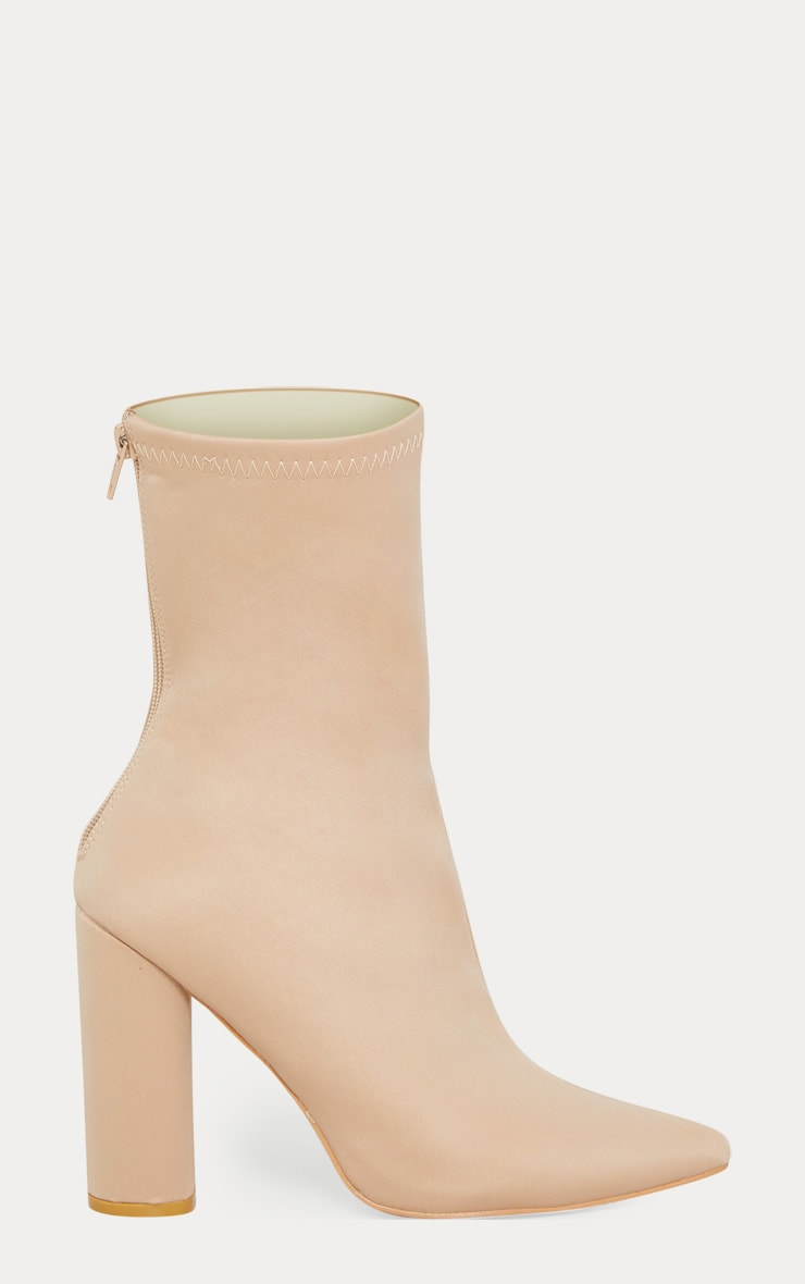 Addie Nude Neoprene Pointed Sock Boots 3