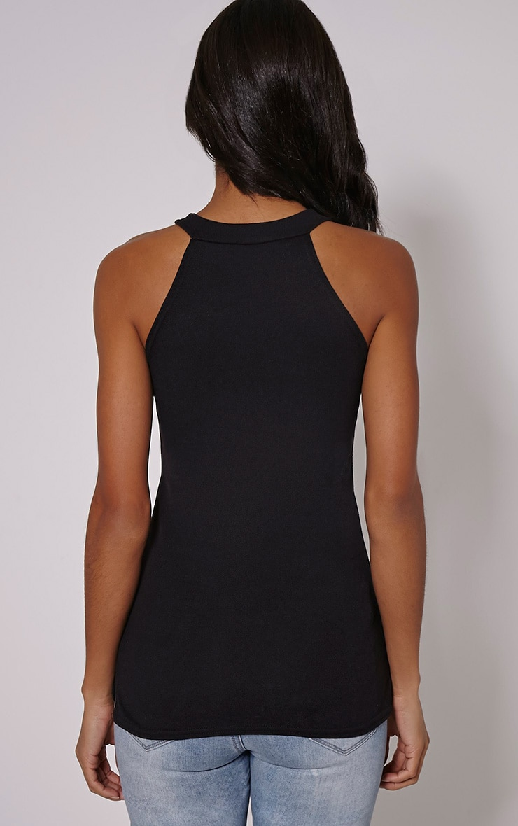 Kate Black Racer Knitted Top 2