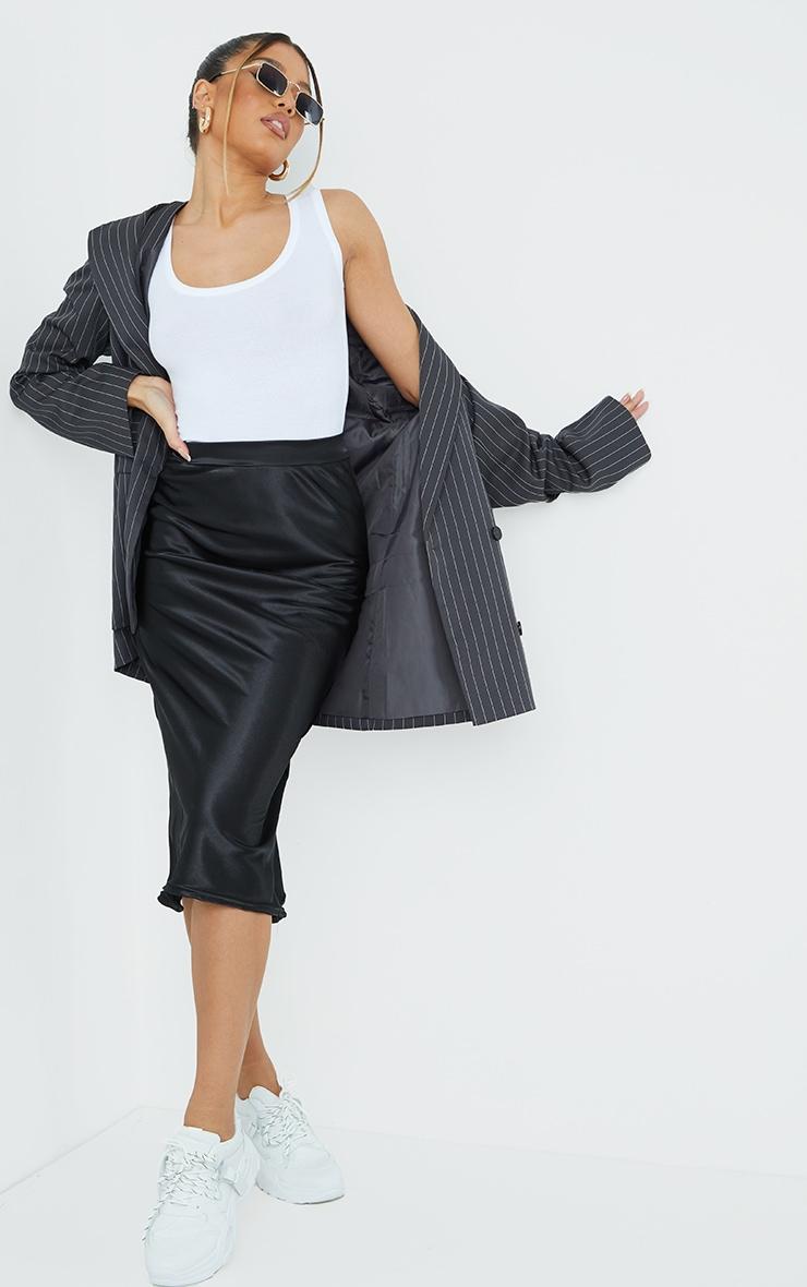 Black Satin Bias Cut Midi Skirt 1