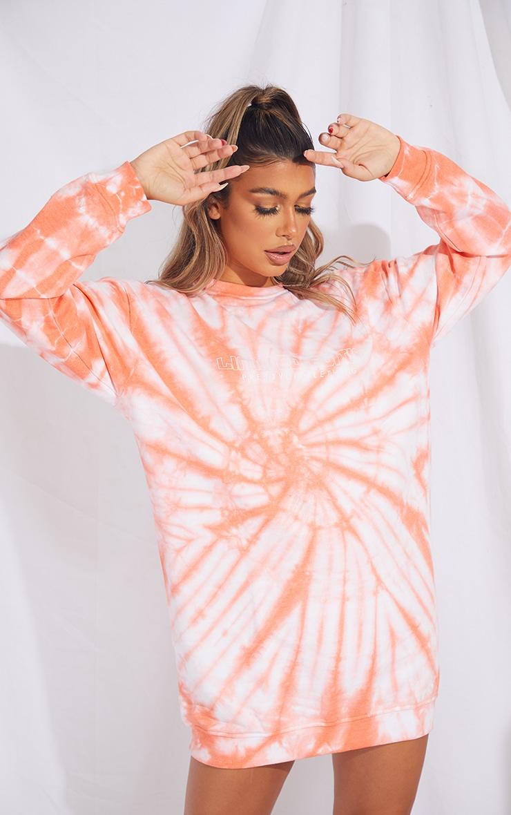 PRETTYLITTLETHING Orange Tie Dye Oversized Sweater Dress 1