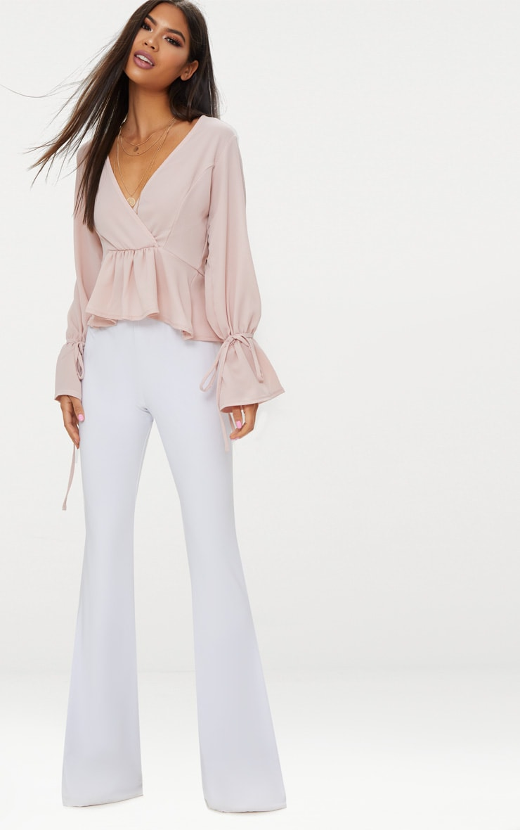 Blush Chiffon Deep Plunge Blouse  4