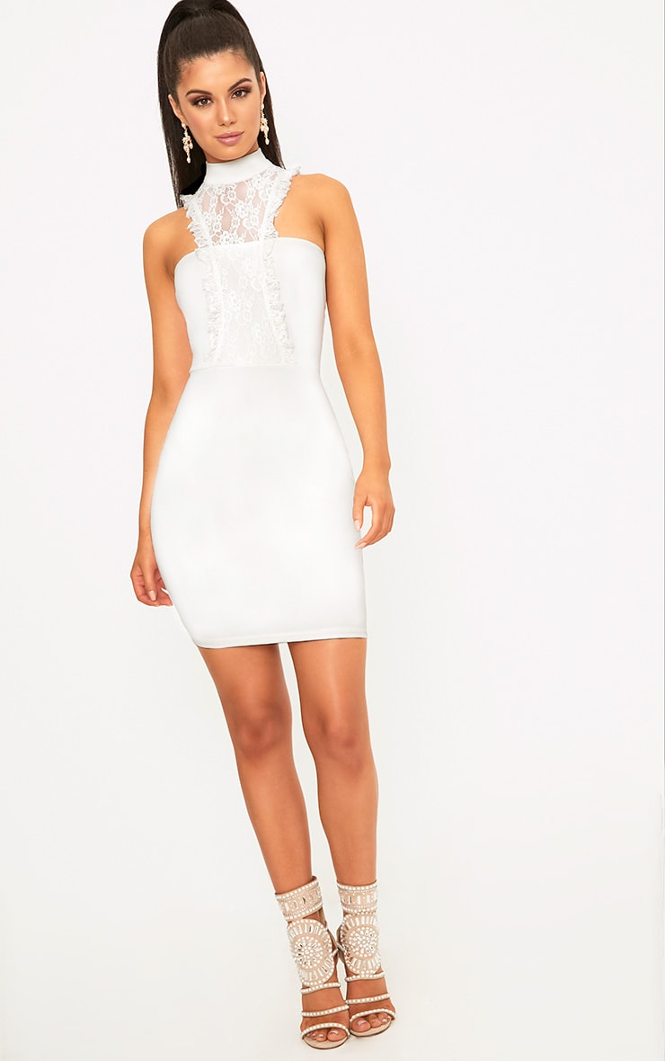 Jessalyn White Lace Overlay High Neck Bodycon Dress 4