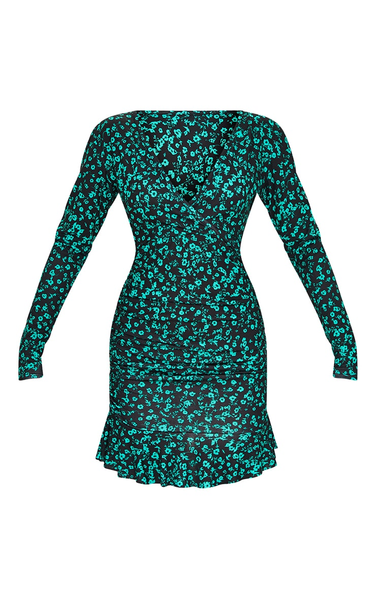 Green Floral Print Ruched Wrap Frill Hem Bodycon Dress 5