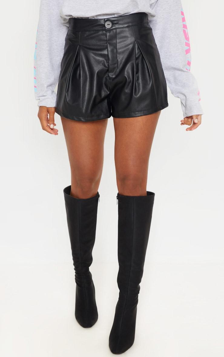 Black Faux Leather Pleat Front Shorts 2