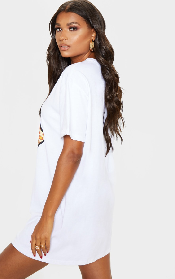 White Rolling Stones Tongue Oversized T Shirt Dress 2