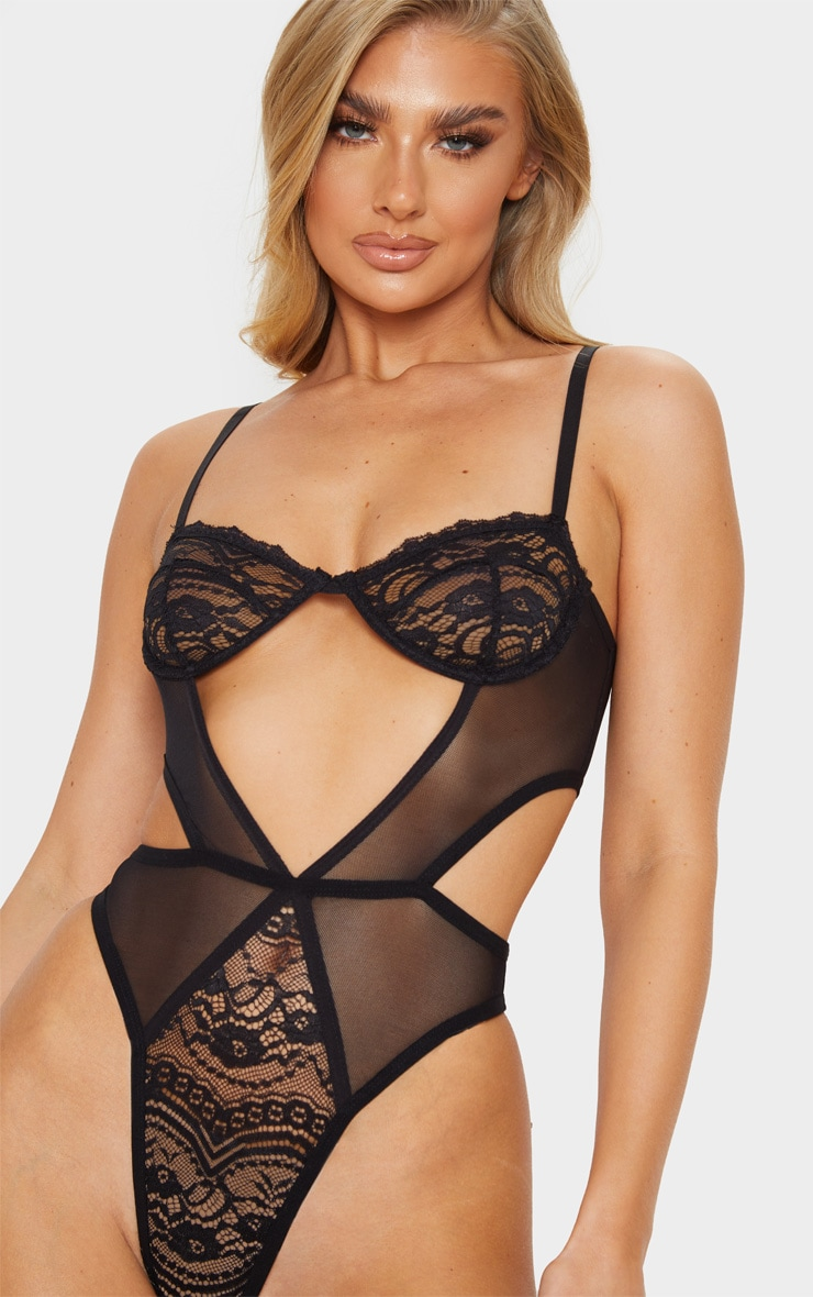 Black Cut Out Panels Lace Mesh Underwired Body 6