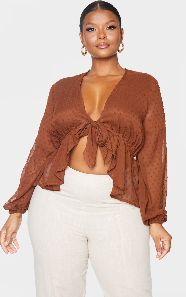 Plus Chocolate Dobby Mesh Tie Front Blouse 3