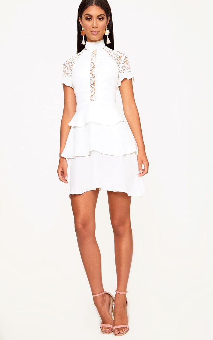 White High Neck Ruffle Detail Bodycon Dress 4