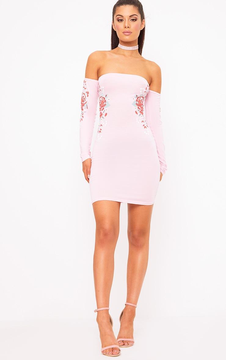 Baby Pink Bardot Printed Bodycon Dress 4