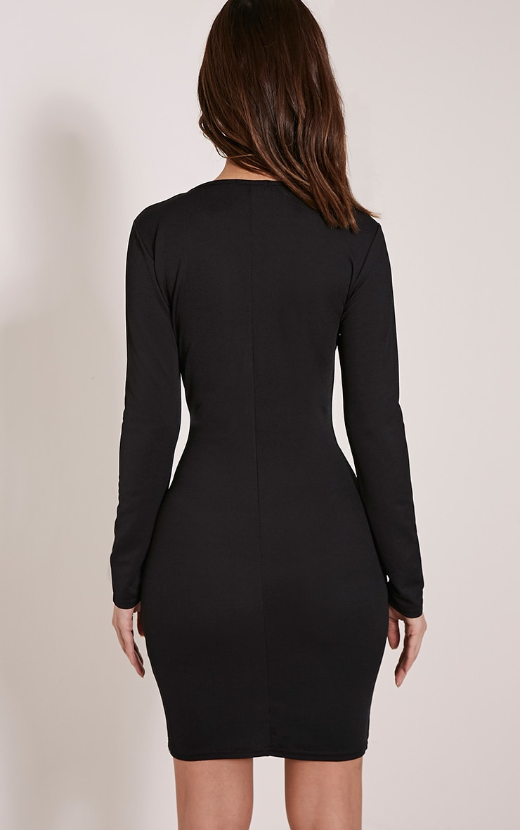 Sharna Black Mesh Insert Bodycon Dress 2