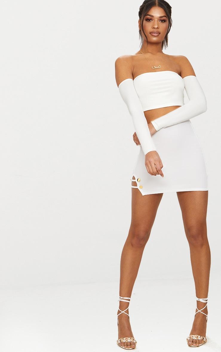 White Split Detail Mini Skirt 5