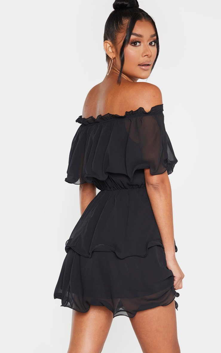 Black Chiffon Bardot Ruffle Tiered Dress 2