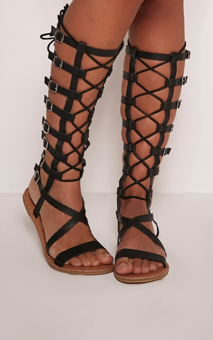 Emmie Black Lace Detail Gladiator Sandals 1