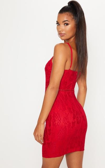 Red Strappy Lace Velvet Insert Bodycon Dress