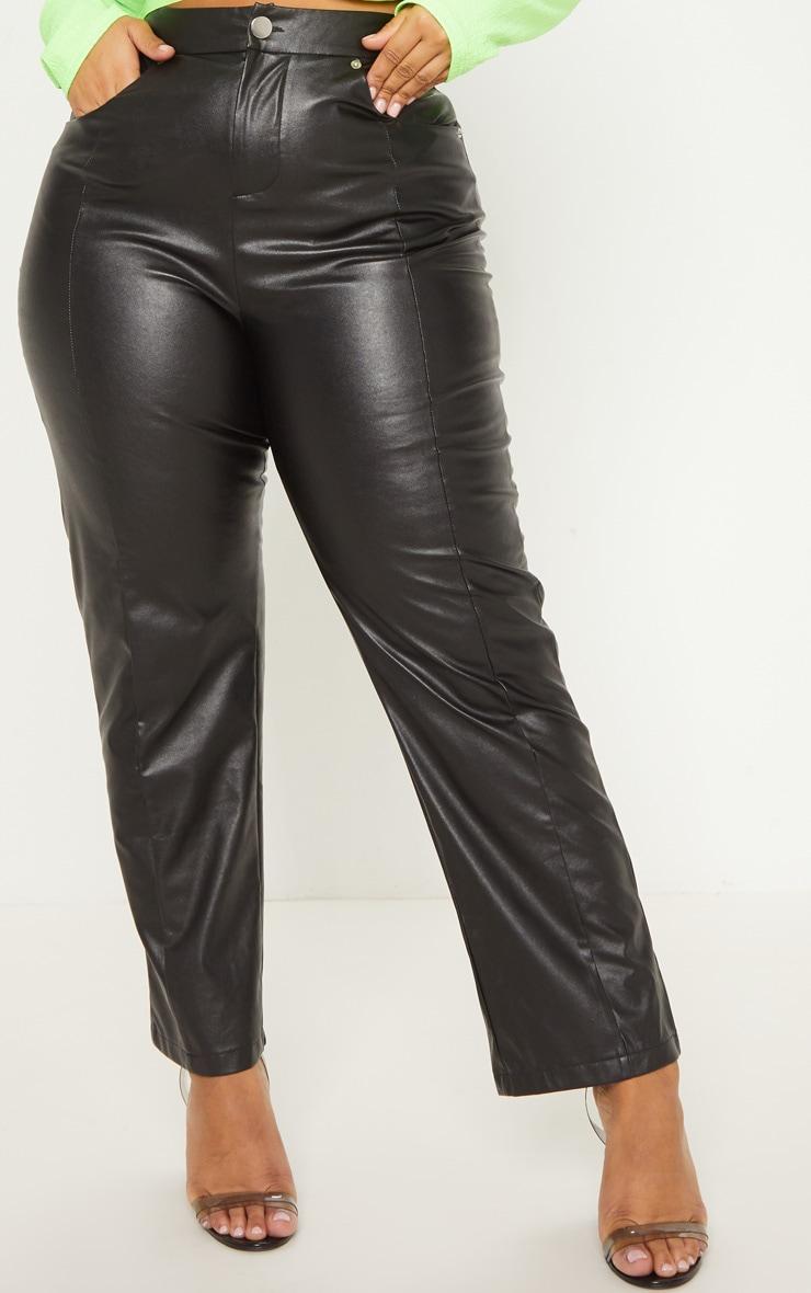 Plus Black Faux Leather Straight Leg Pants 5