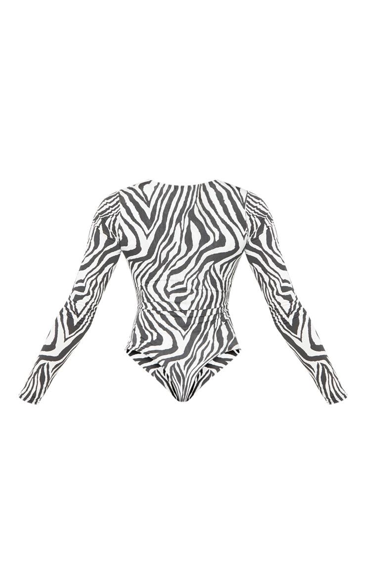 Tall White Zebra Print Slinky Long Sleeve Bodysuit 4