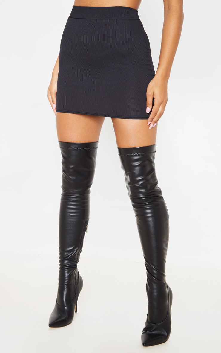Black Rib Bodycon Mini Skirt 2