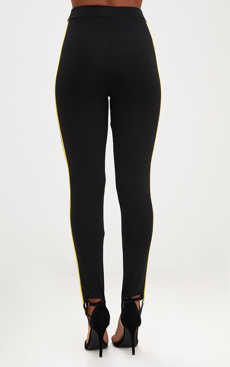 Black Track Stripe Stirrup Leggings 4