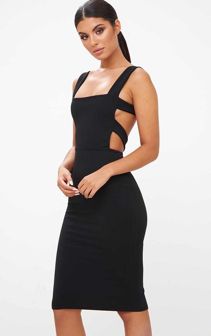 Black Cage Side Straight Neck Midi Dress 1