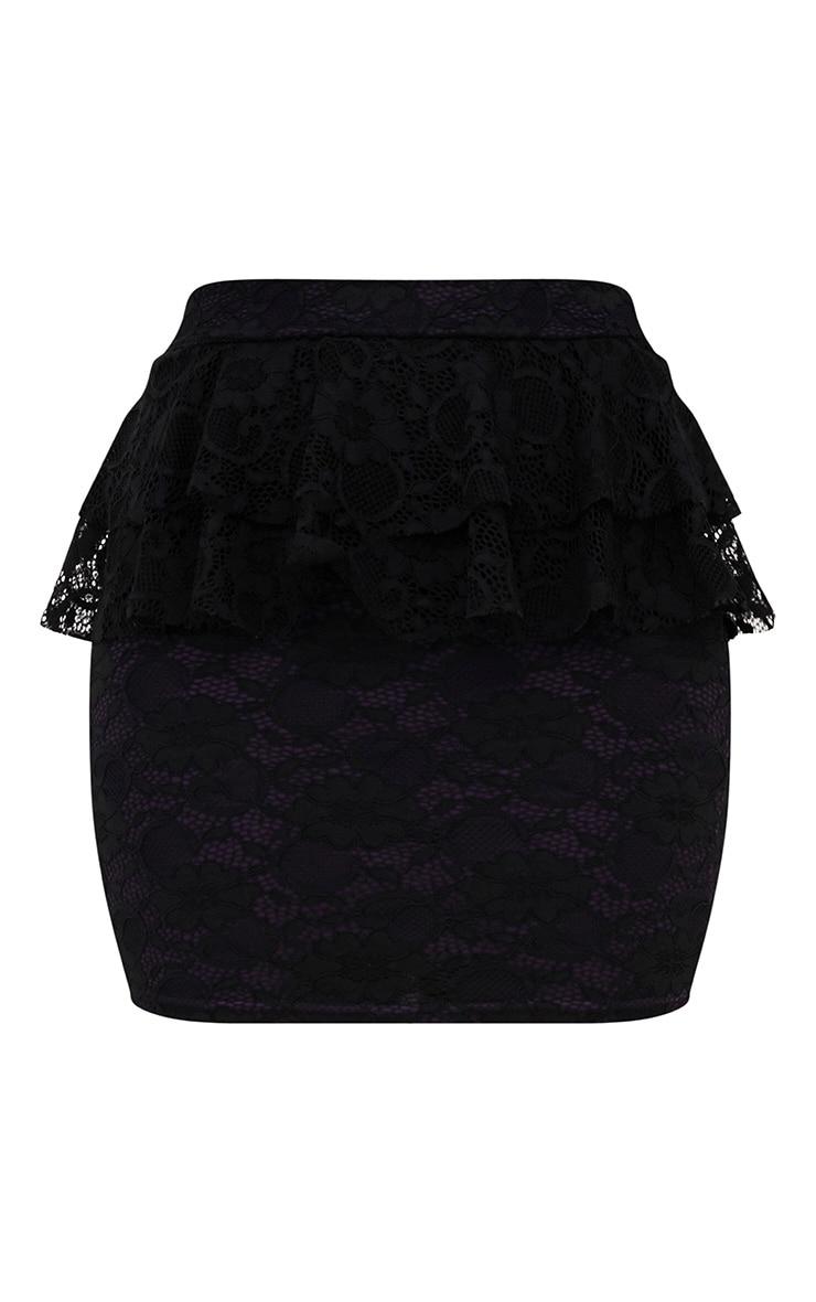 Purple Lacey Frill Waist Mini Skirt 3