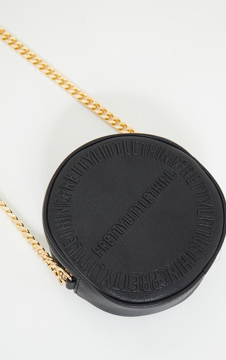 PRETTYLITTLETHING Black Embossed Round Chunky Chain Crossbody Bag 4