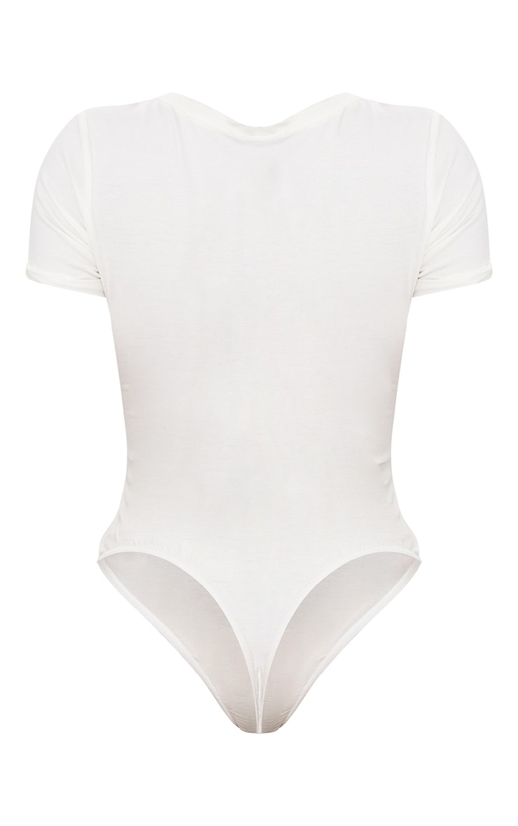 Shape White Jersey V Neck Bodysuit 4