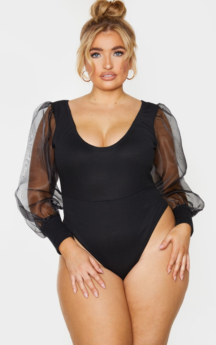Plus Black Rib Organza Puff Sleeve Bodysuit 2