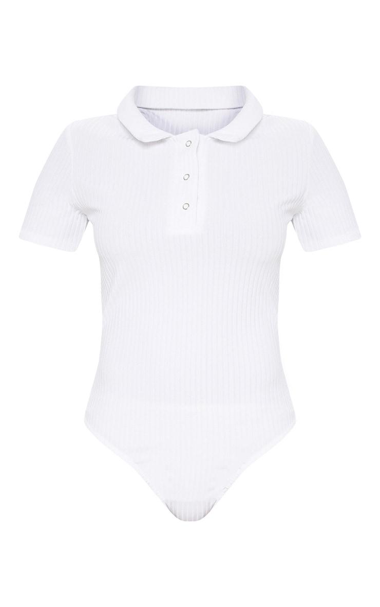 White Rib Polo Bodysuit 3