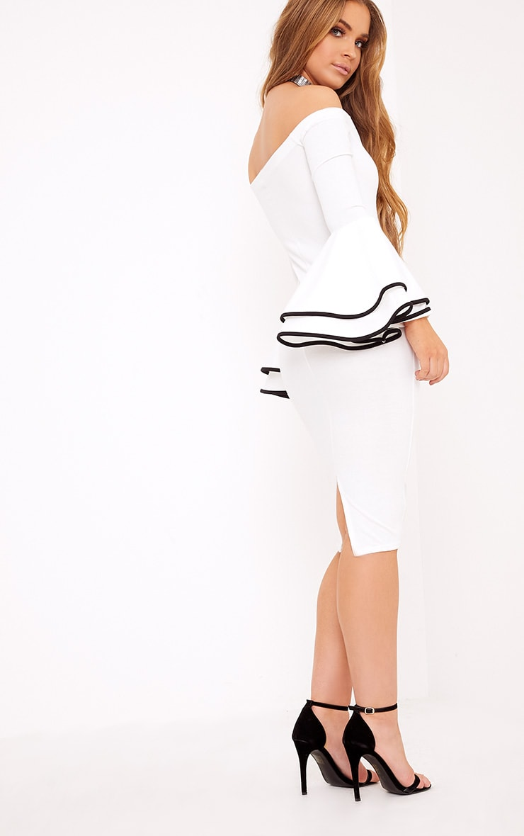 Amandine White Piping Detail Flared Cuff Midi Dress 2
