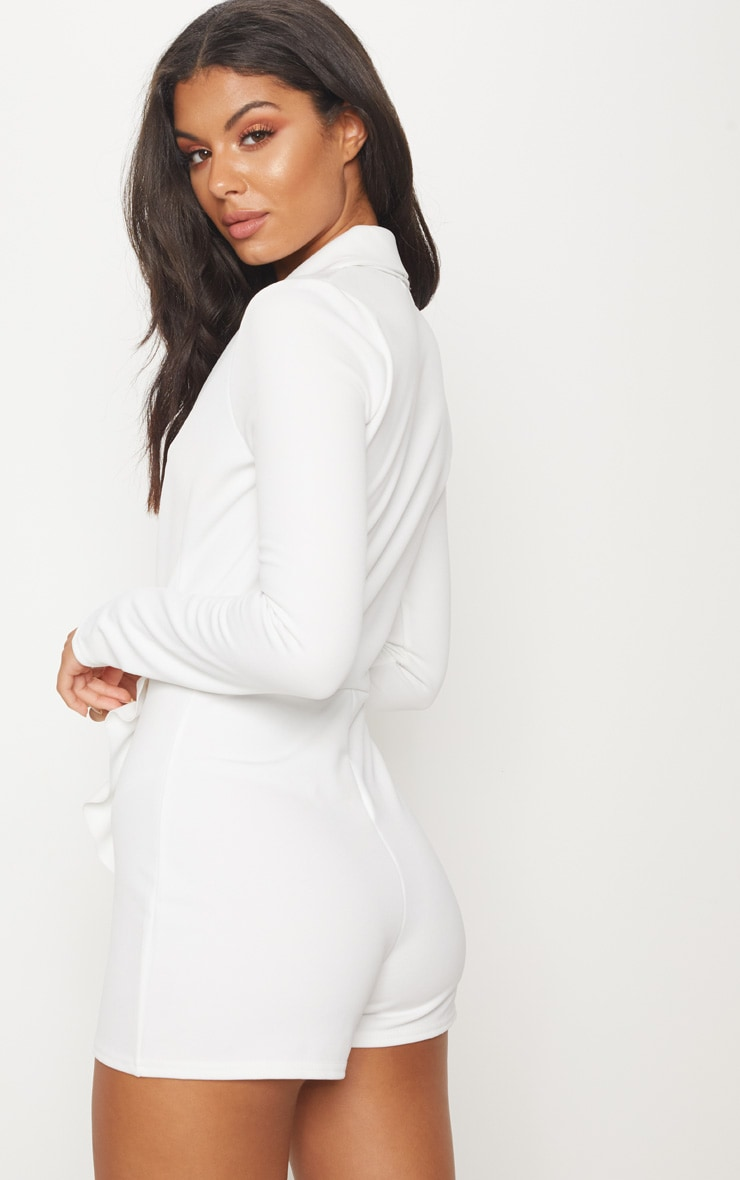 White Frill Long Sleeve Tux Romper 2