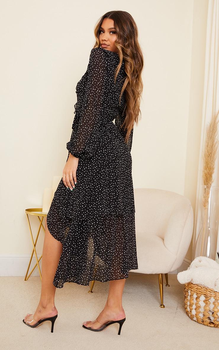 Black Polka Dot Chiffon Frill Wrap Midi Dress 2