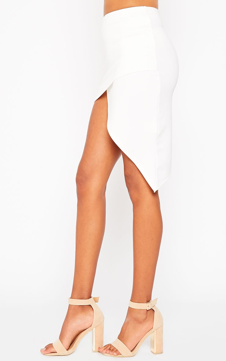 Tiff Cream Wrap Hem Scuba Skirt 3