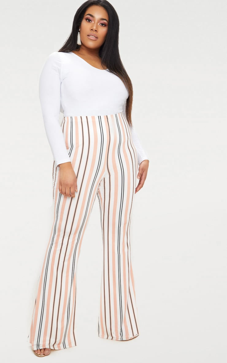 Plus White Slinky Striped Flared Trousers 1