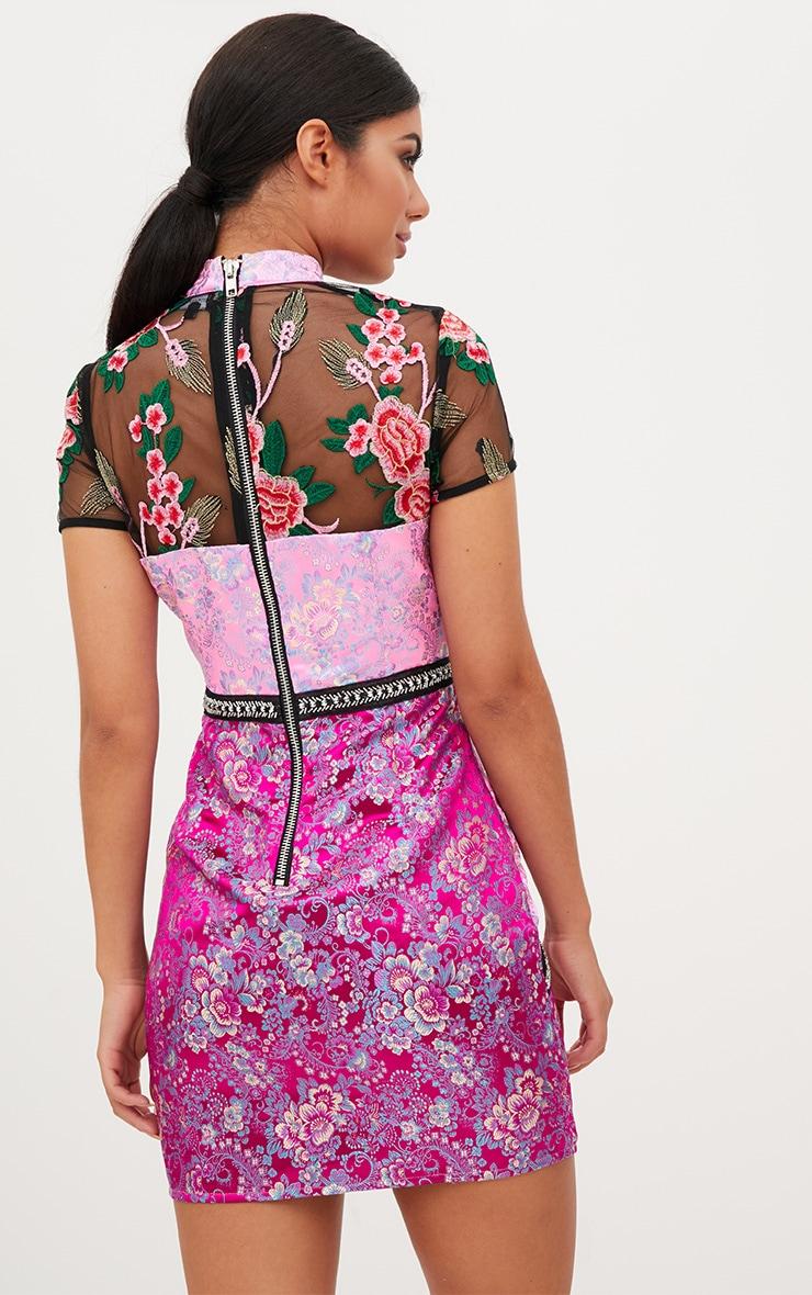 Premium Pink Jacquard Embroidered Bodycon Dress 3