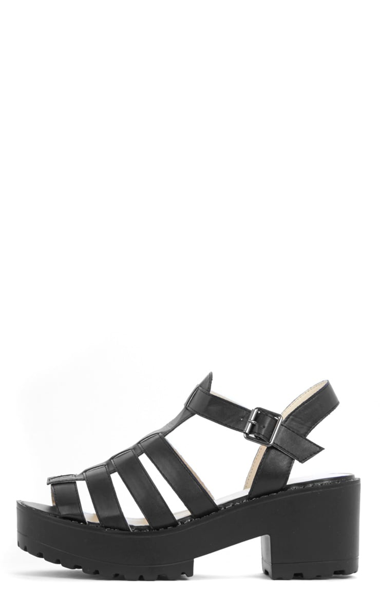 Nini Black Cut Out Cleated Shoe  1