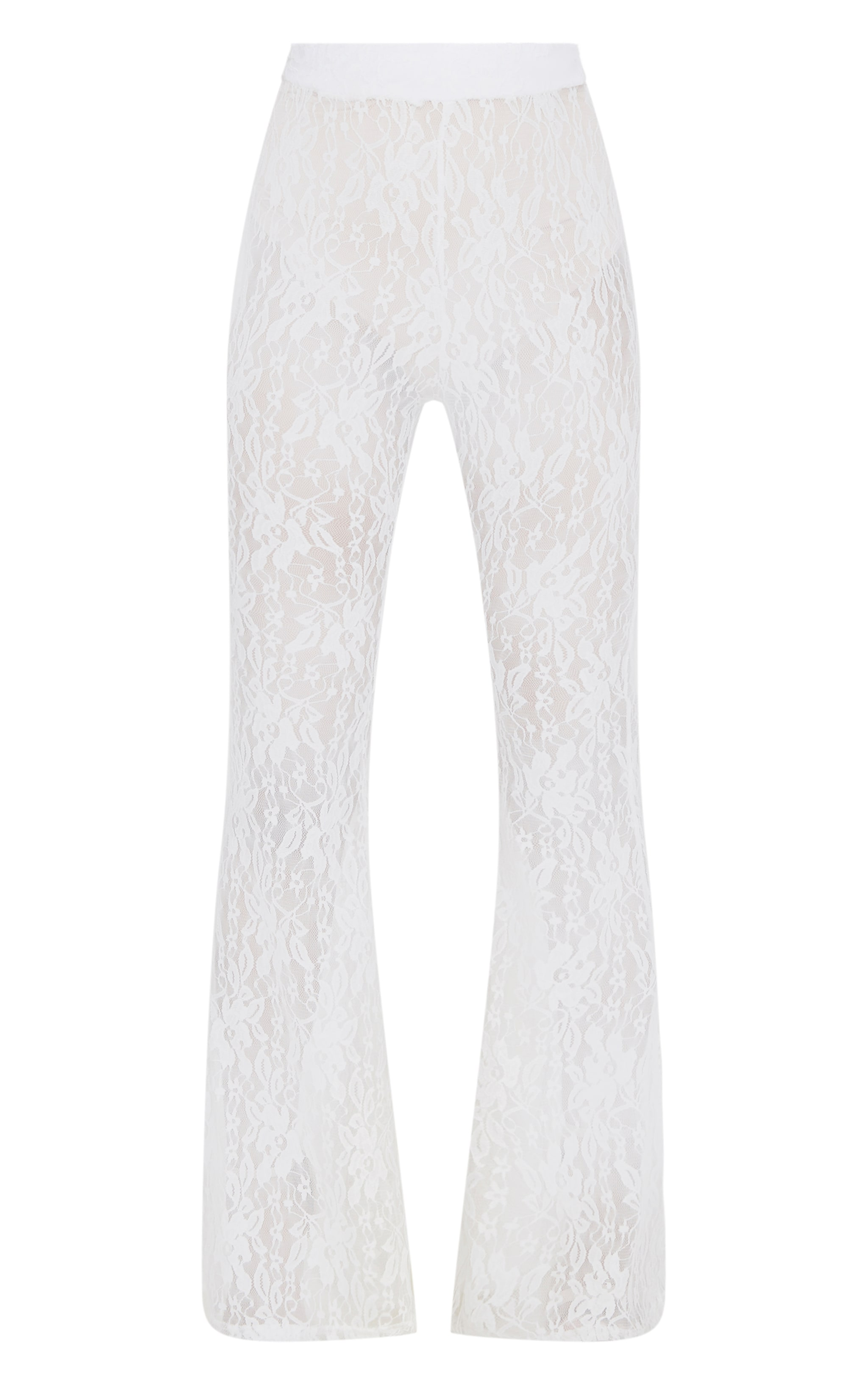 Petite White Flared Lace Trousers 3