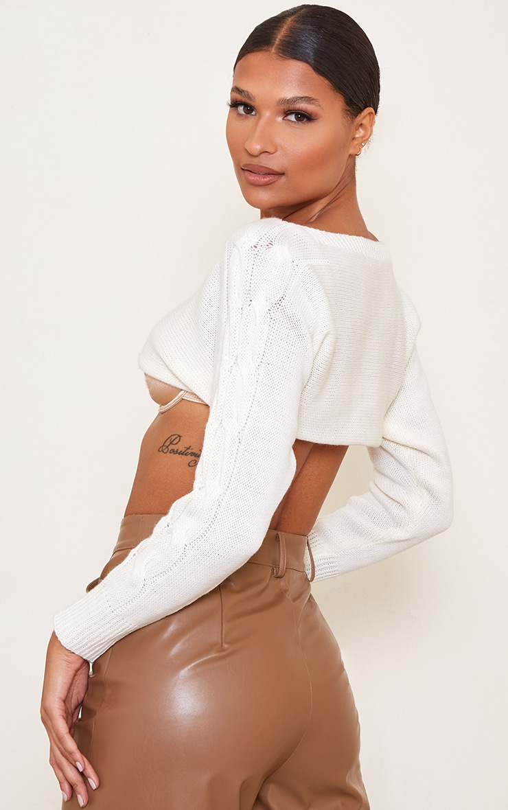 Cream Super Crop Cable Sleeve Batwing Jumper 2