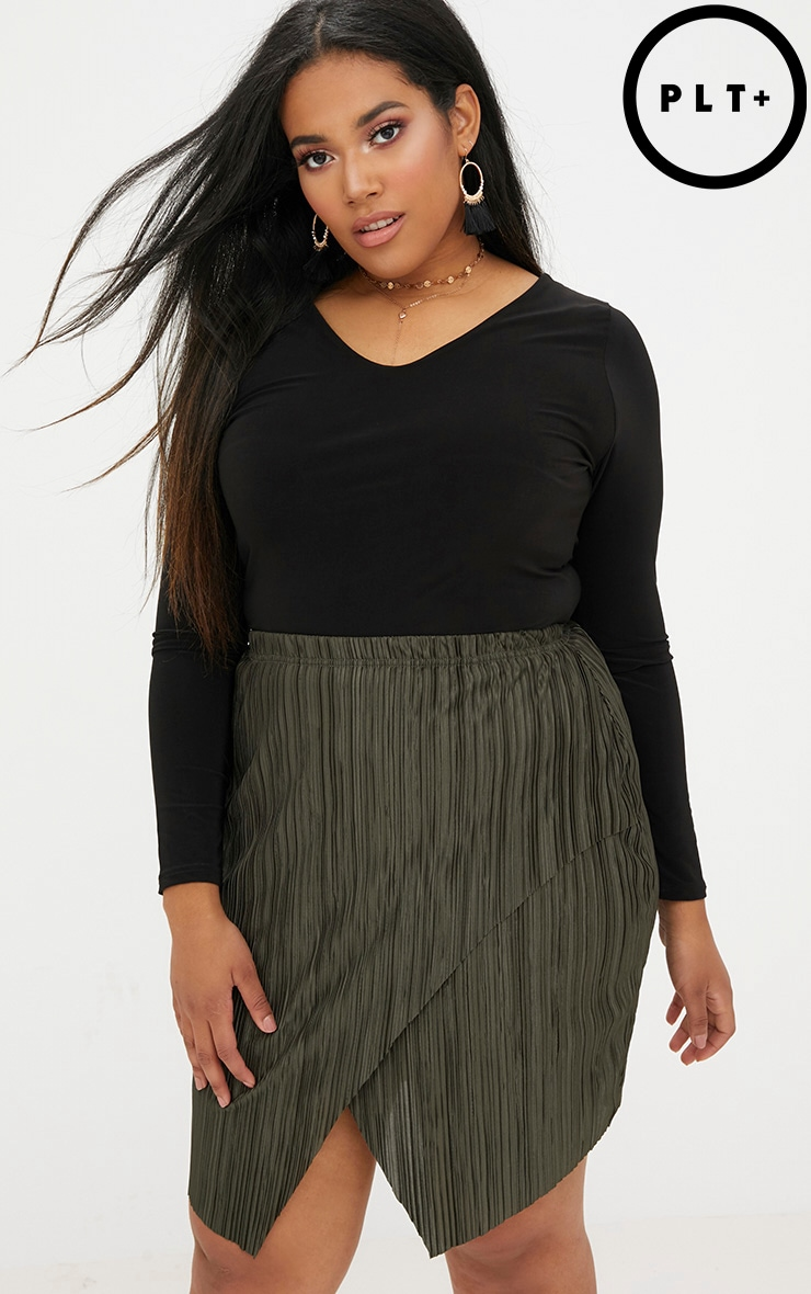 Plus Emerald Green Pleated Wrap Mini Skirt 1