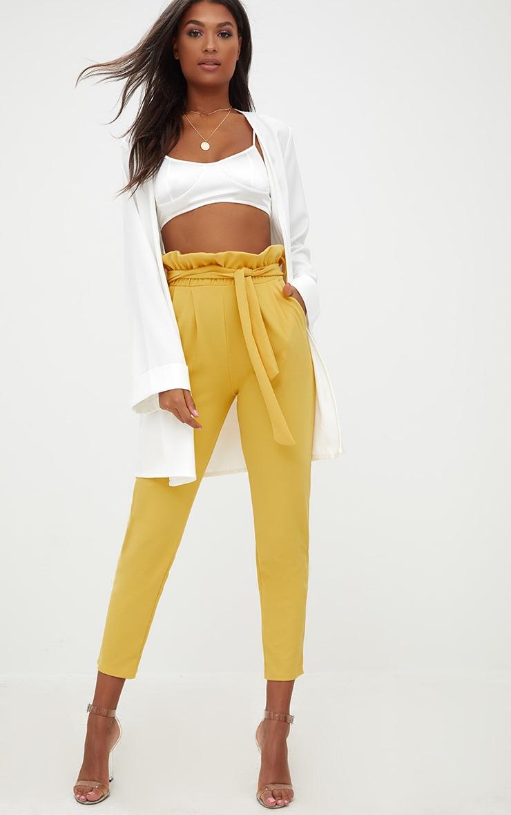 Mustard Paperbag Slim Leg Pants 1