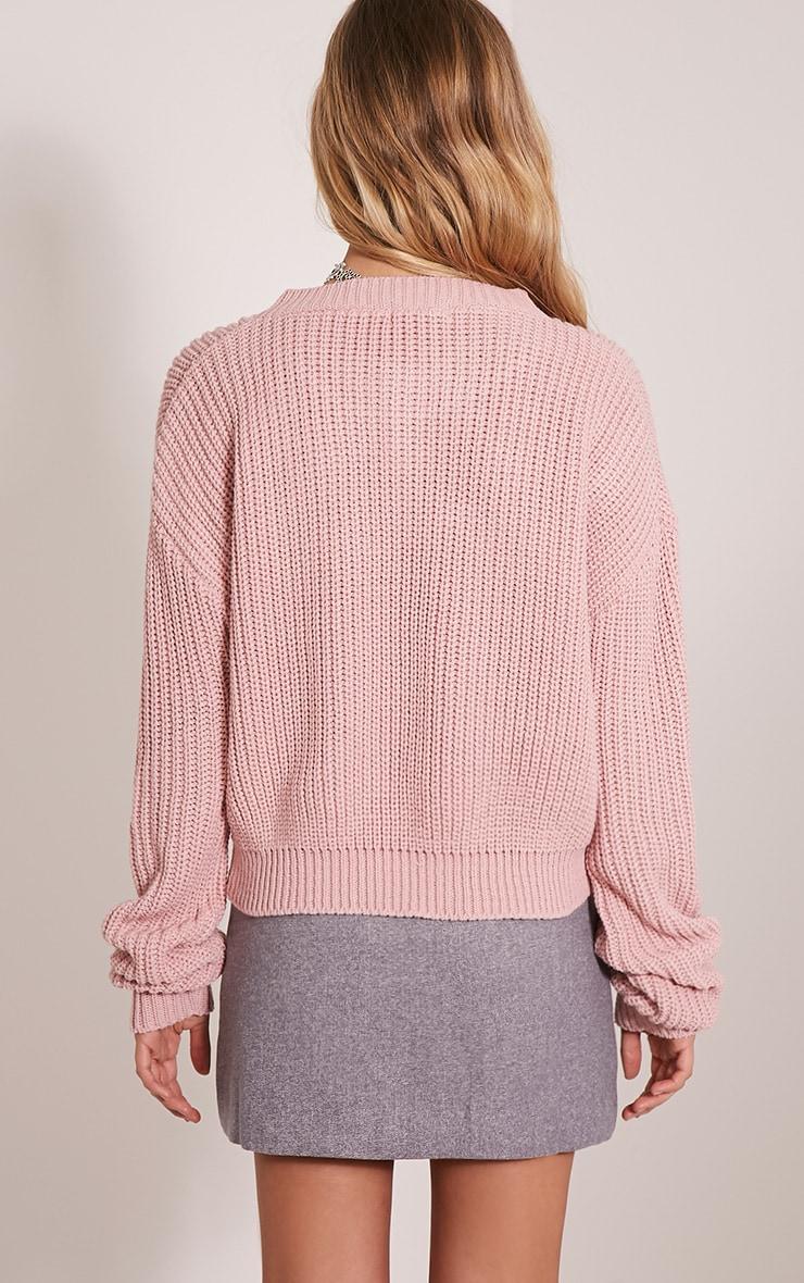 Cara pull court tricoté rose pâle 2