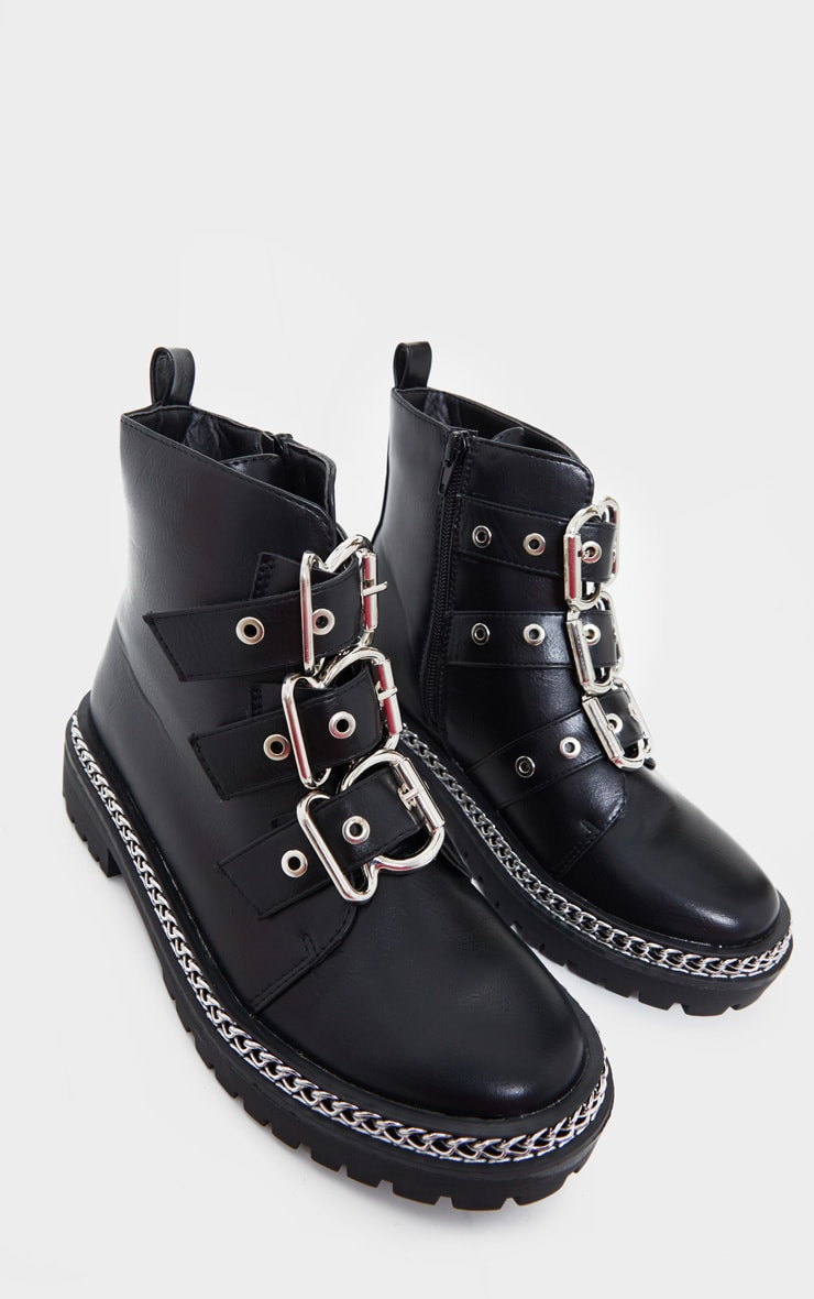 Black Wide Fit Triple Buckle Ankle Boots 4